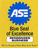 Blue Seal of Excellence auto repair and maintenance mechanis shop